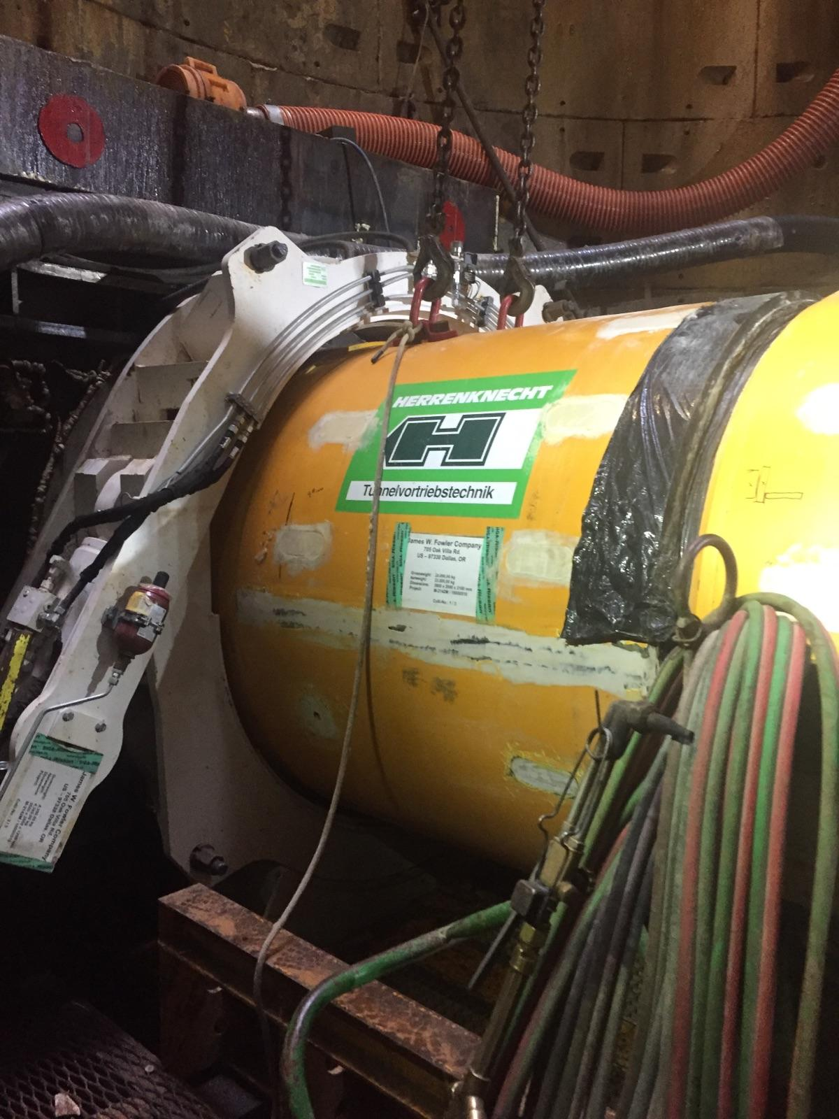 Micro-tunneling machine in place at the bottom of the shaft.