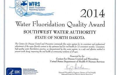 2014 Water Fluoridation Quality Award