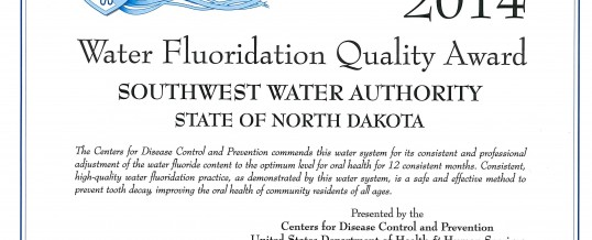 2014 Water Fluoridation Quality Award