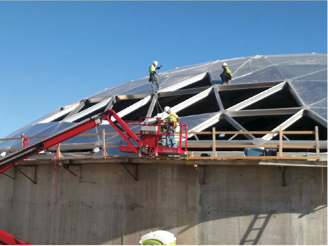 JTJ installing dome roof panels.
