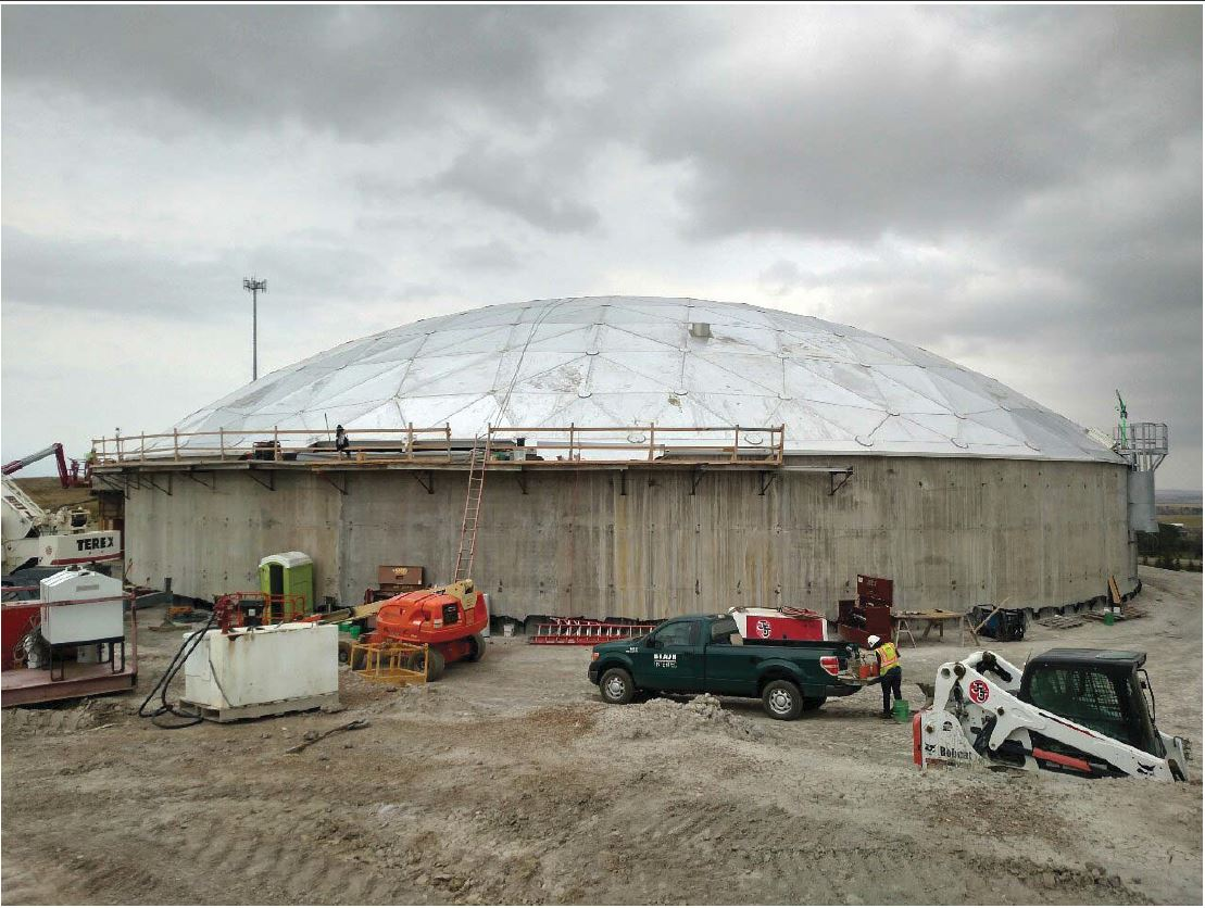 JTJ placed the remainder of the dome beams and roof panels at the opening left open to allow for removal of equipment.