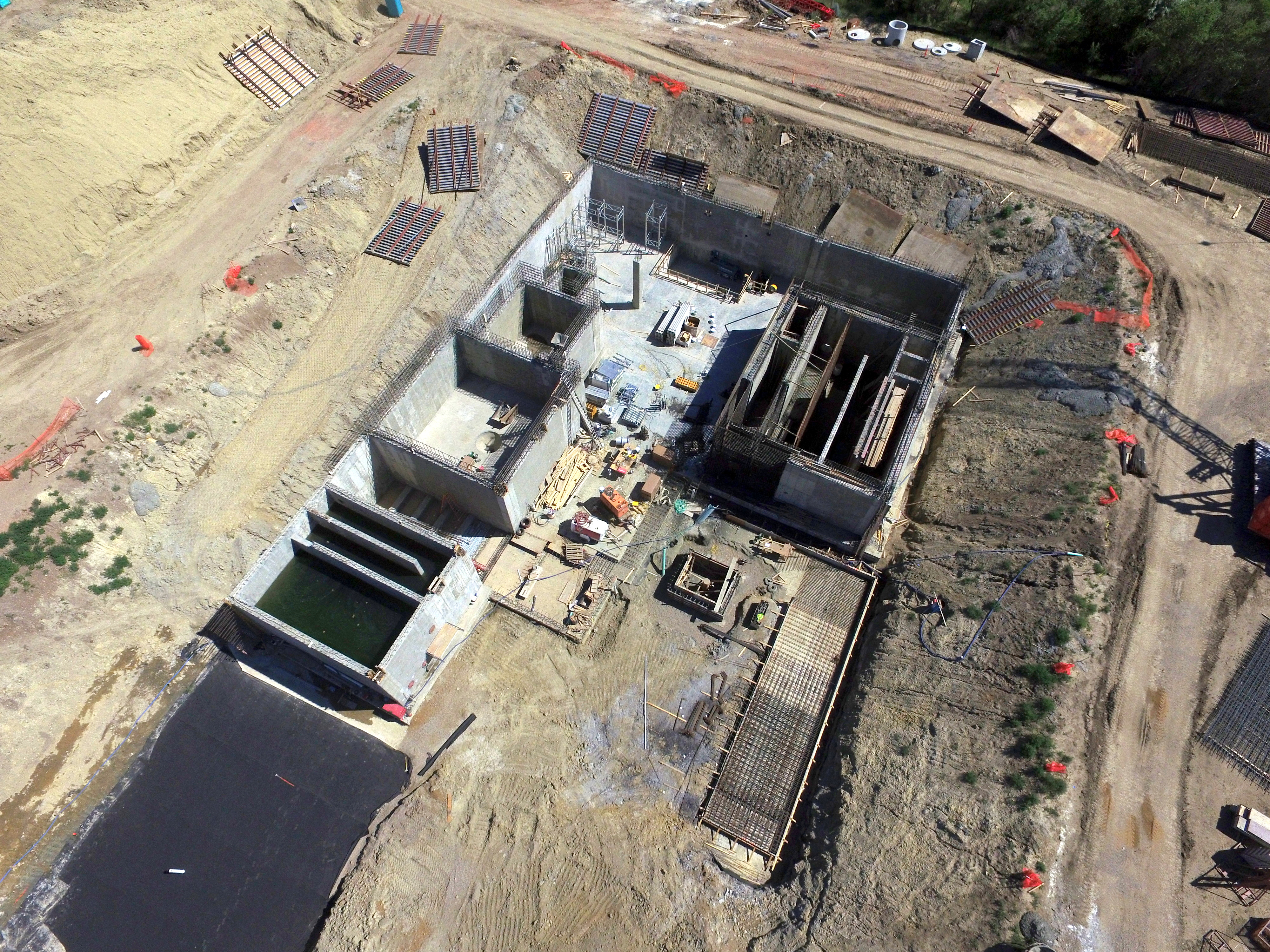 Overhead drone photo of entire construction site.