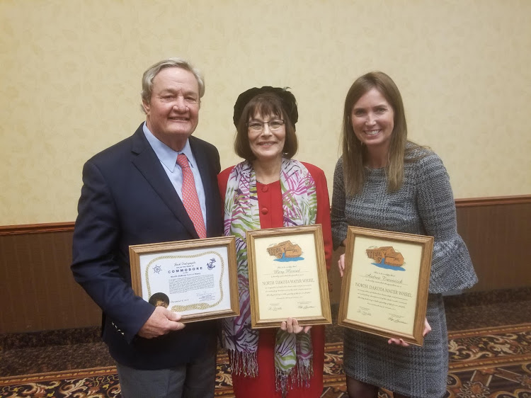 Former Governor Jack Dalrymple - Commodore Award, SWA Manager/CEO Mary Massad - Water Wheel Award and Deputy Assistant Secretary for Water and Science for the Department of the Interior Andrea Travnicek - Water Wheel Award.
