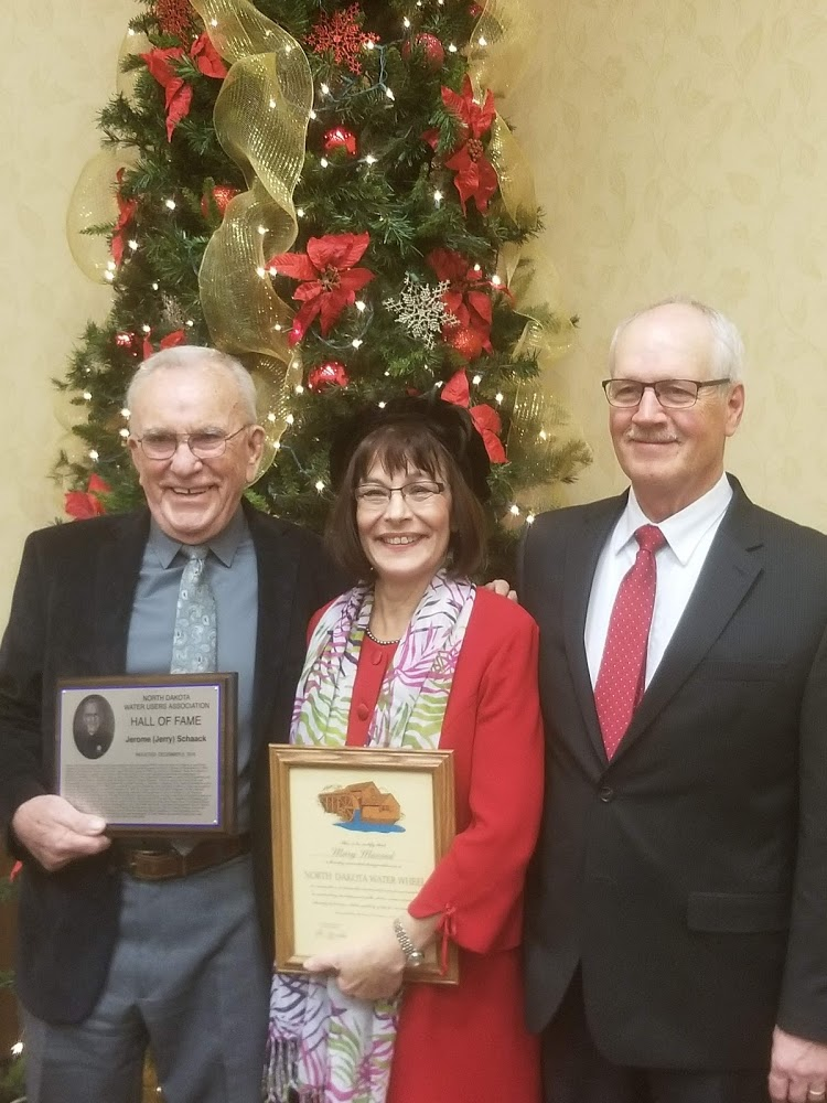 Hall of Fame Inductee Jerry Schaak, SWA Manager/CEO Mary Massad - Water Wheel Award and Senator Mike Dwyer.