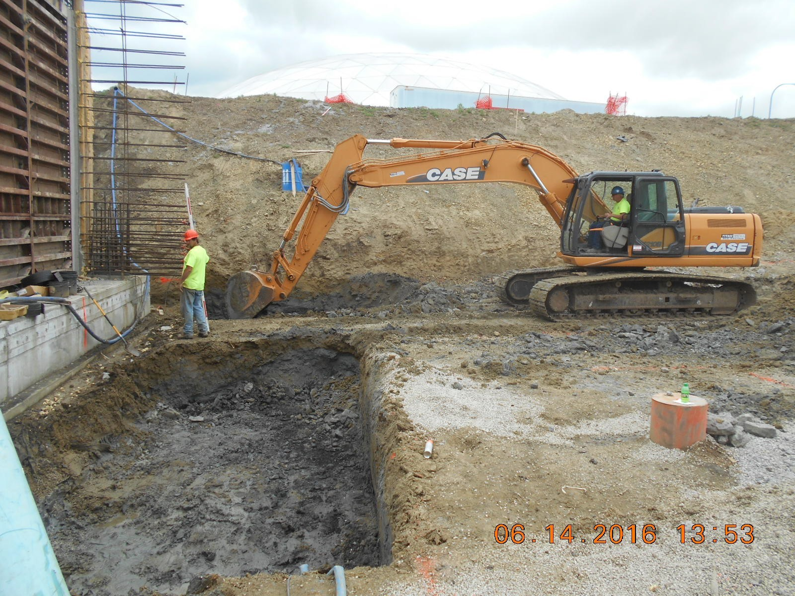JTJ excavating for the west exterior wall footing.