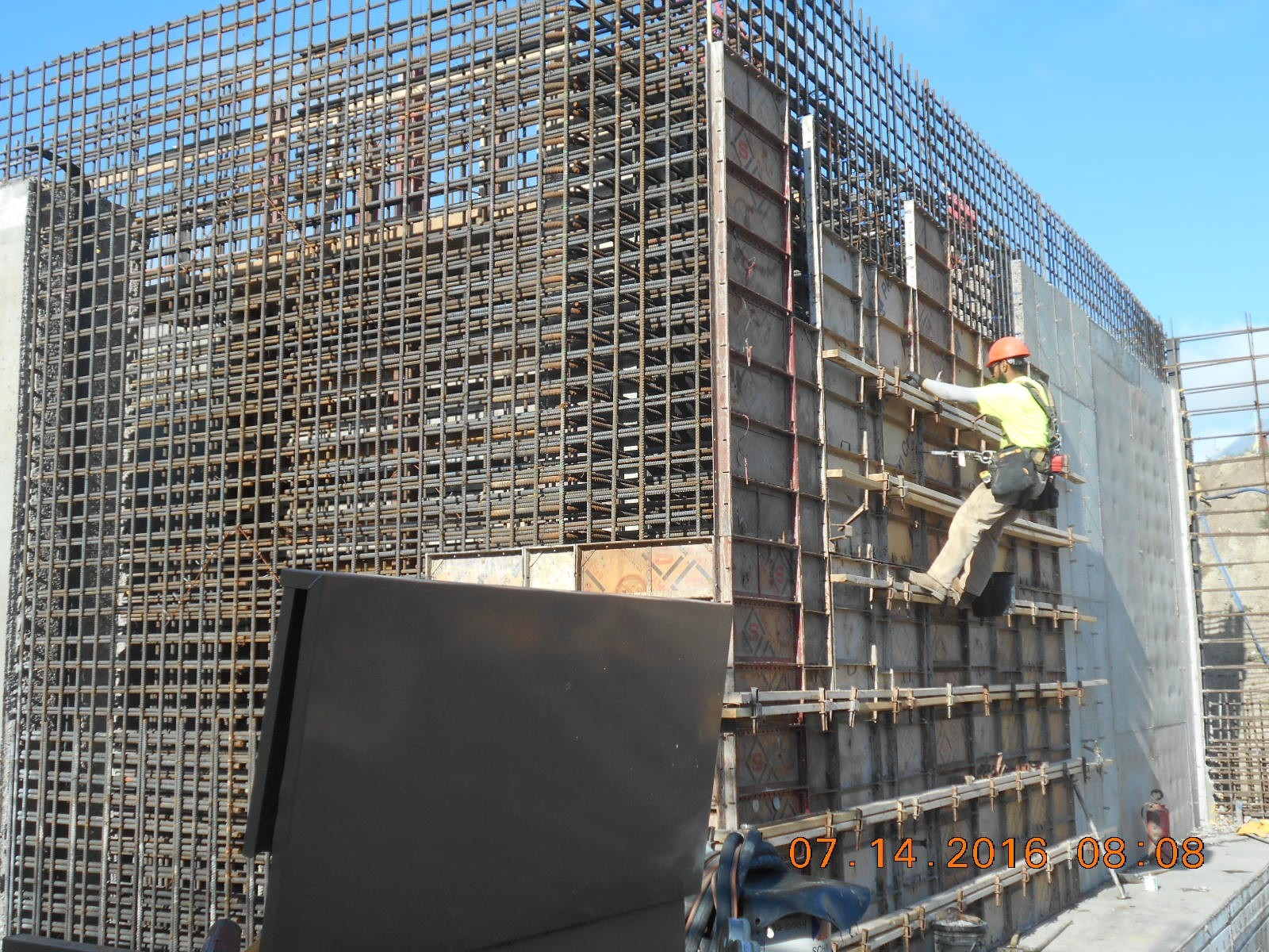 JTJ working on the wall forms for the outside face of the north wall of the Ozone Basin.