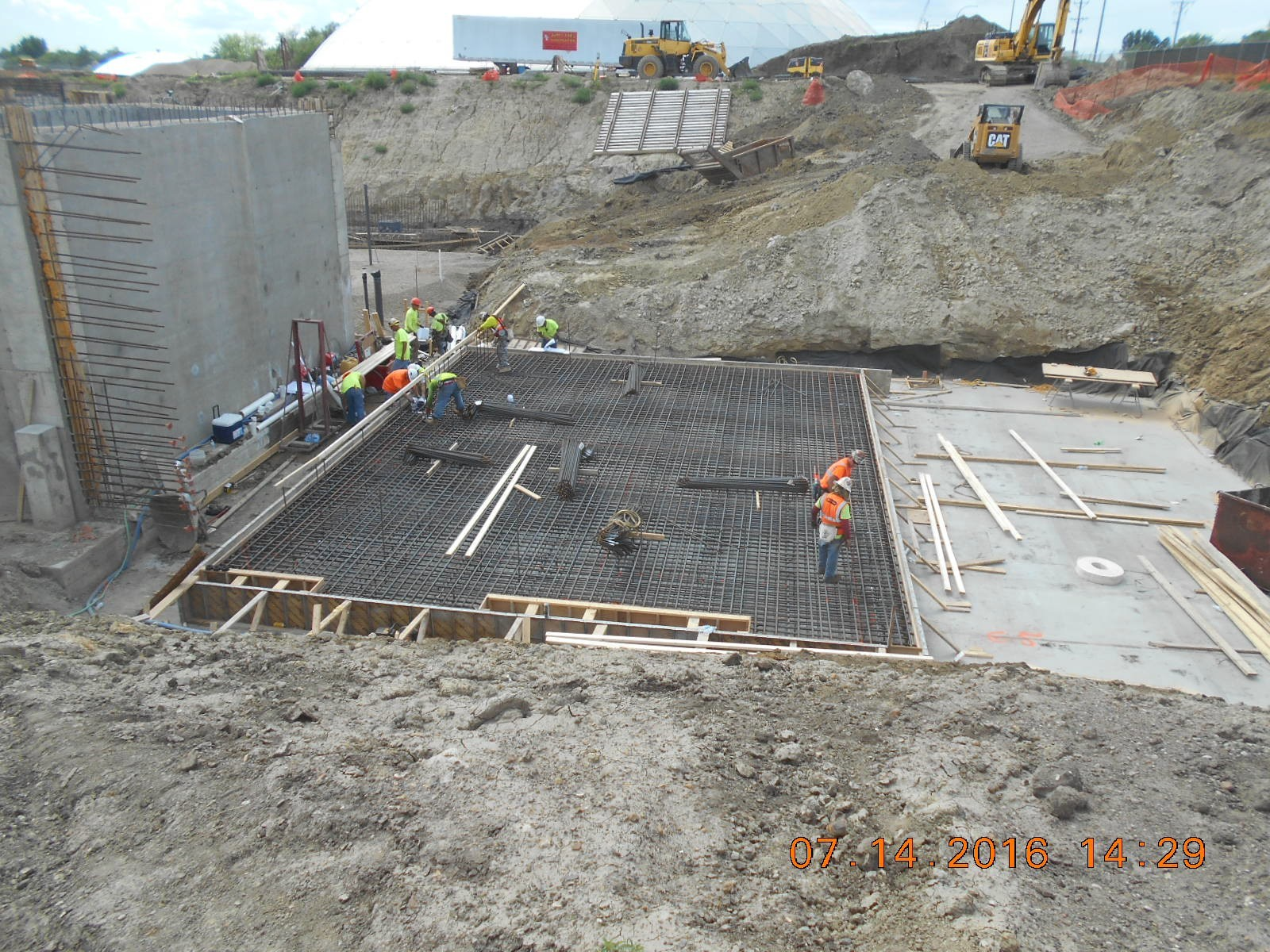 Harris Rebar placing the reinforcing steel for the Backwash Recovery foundation slab.