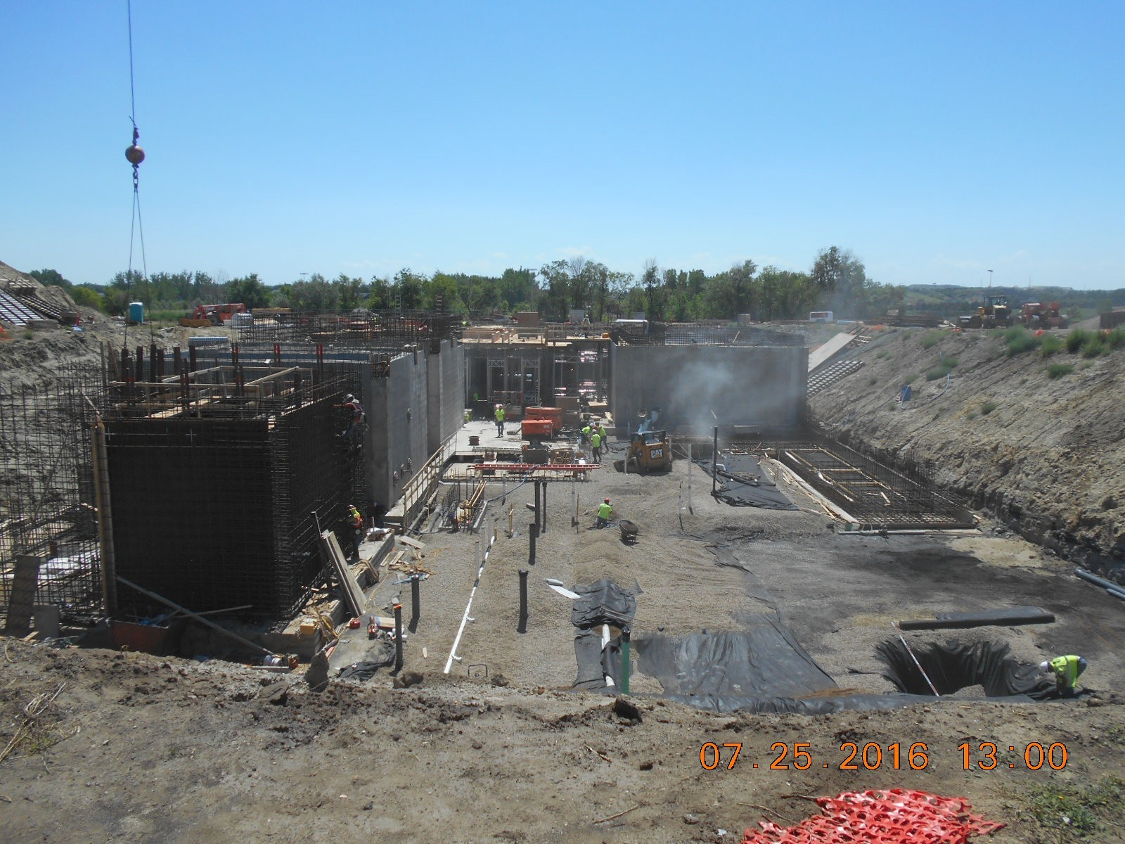 Looking South at the construction site.