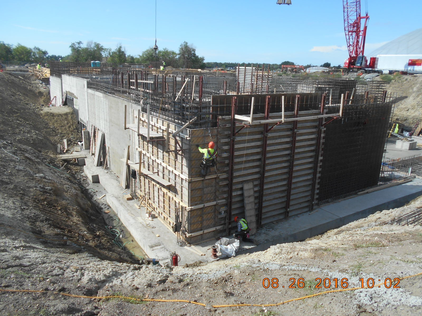 JTJ working on wall forms at the northeast corner of the exterior wall.