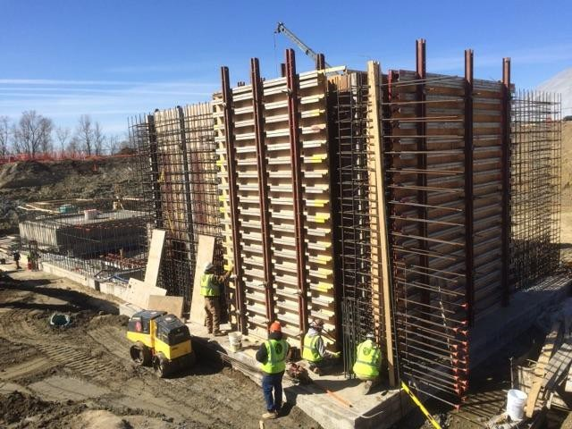 JTJ Workers Setting Wall Forms for the Eastern MF Buffer Basin Wall.