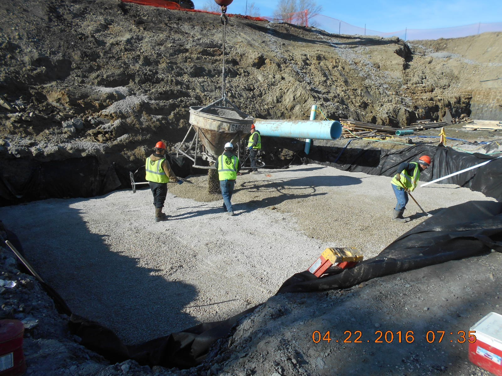 JTJ placing base aggregate for Coag/Flood Drain Pit.