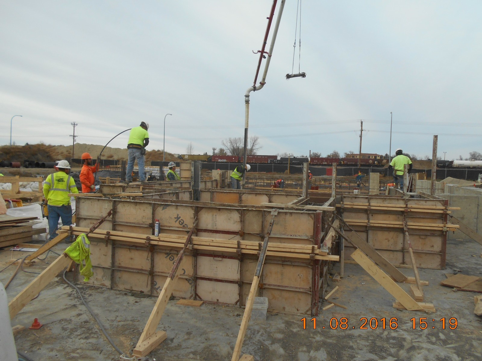 JTJ placing concrete for the upper walls of the Reactor/Rapid Mix Basins.