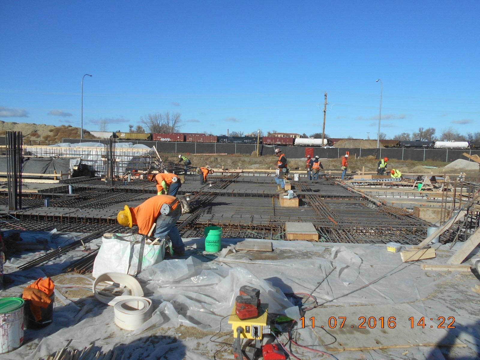Harris Rebar placing the bottom mat of reinforcing steel.