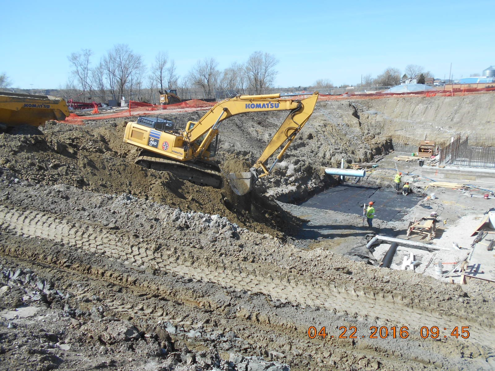 JTJ excavating for basement floor subgrade at southeast corner of the building.