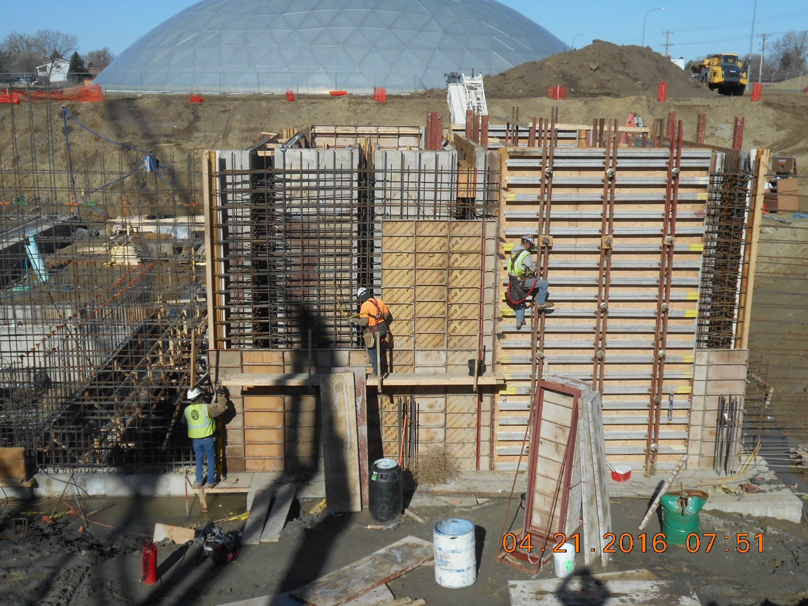 JTJ placing formwork for east wall of Buffer.