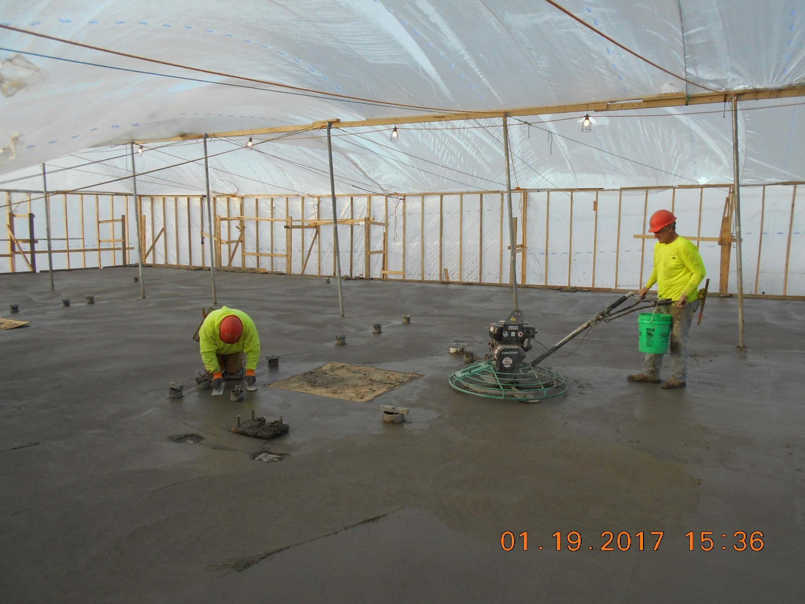 JTJ finishing the concrete surface.