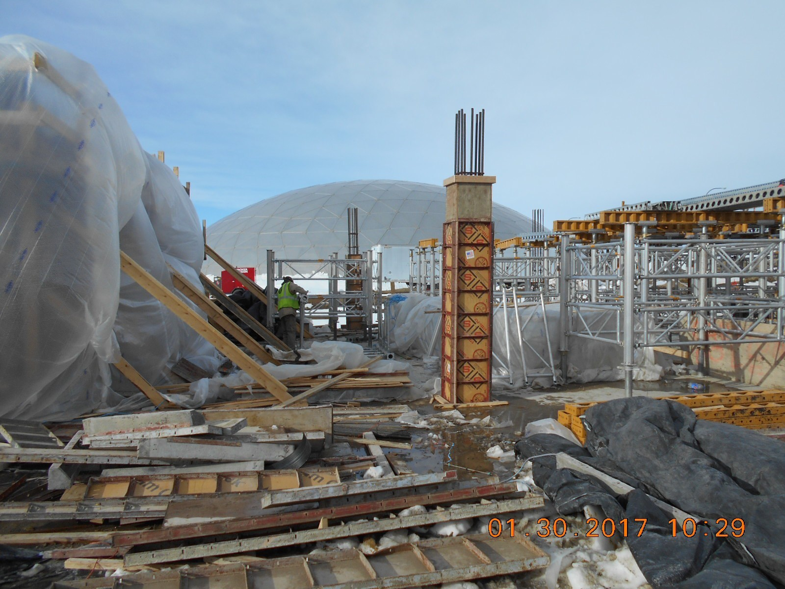 JTJ working on shoring for the second floor slab between the ozone basin and the wet well.