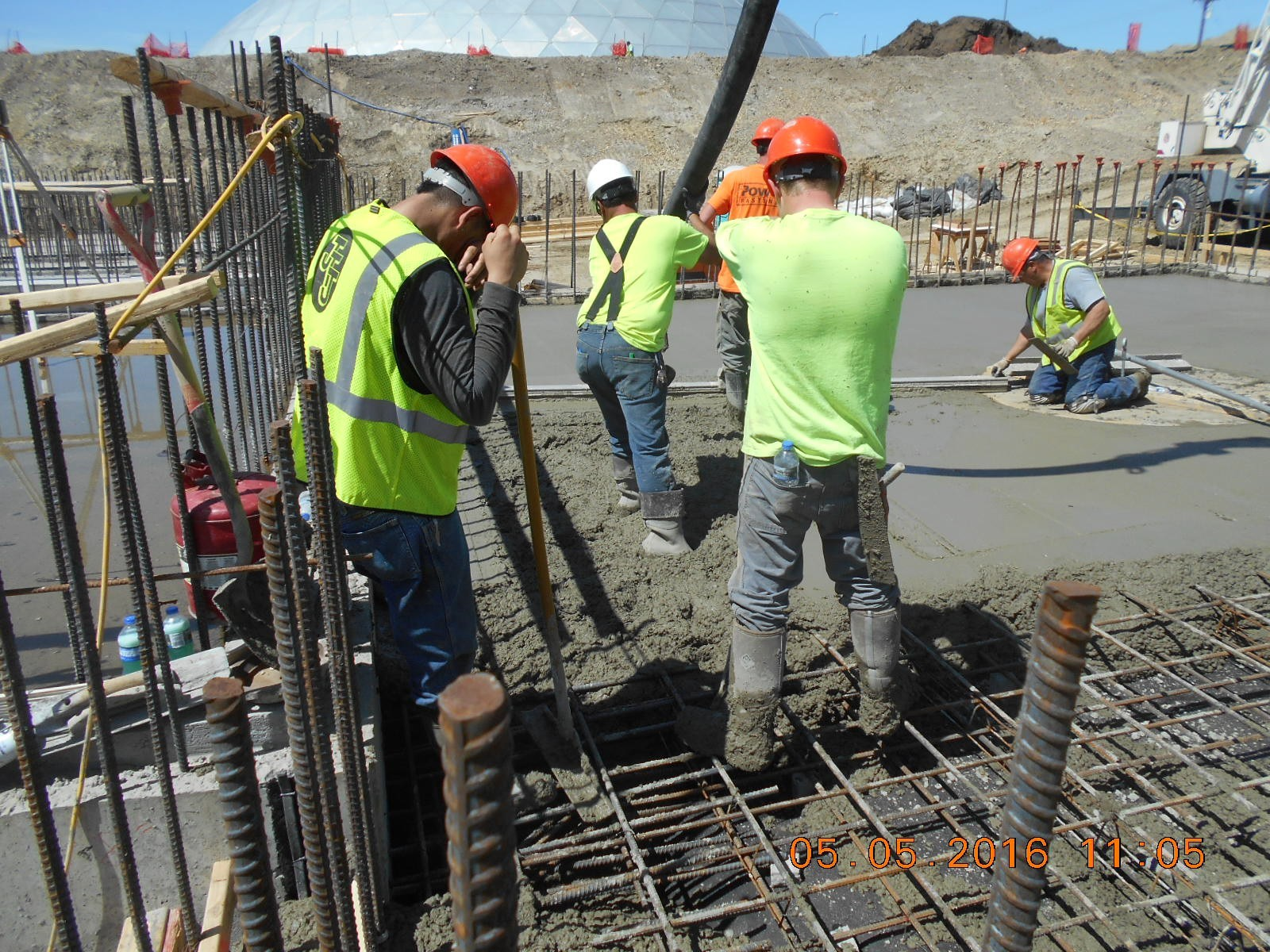 JTJ placing concrete for Clarifier floor slab.