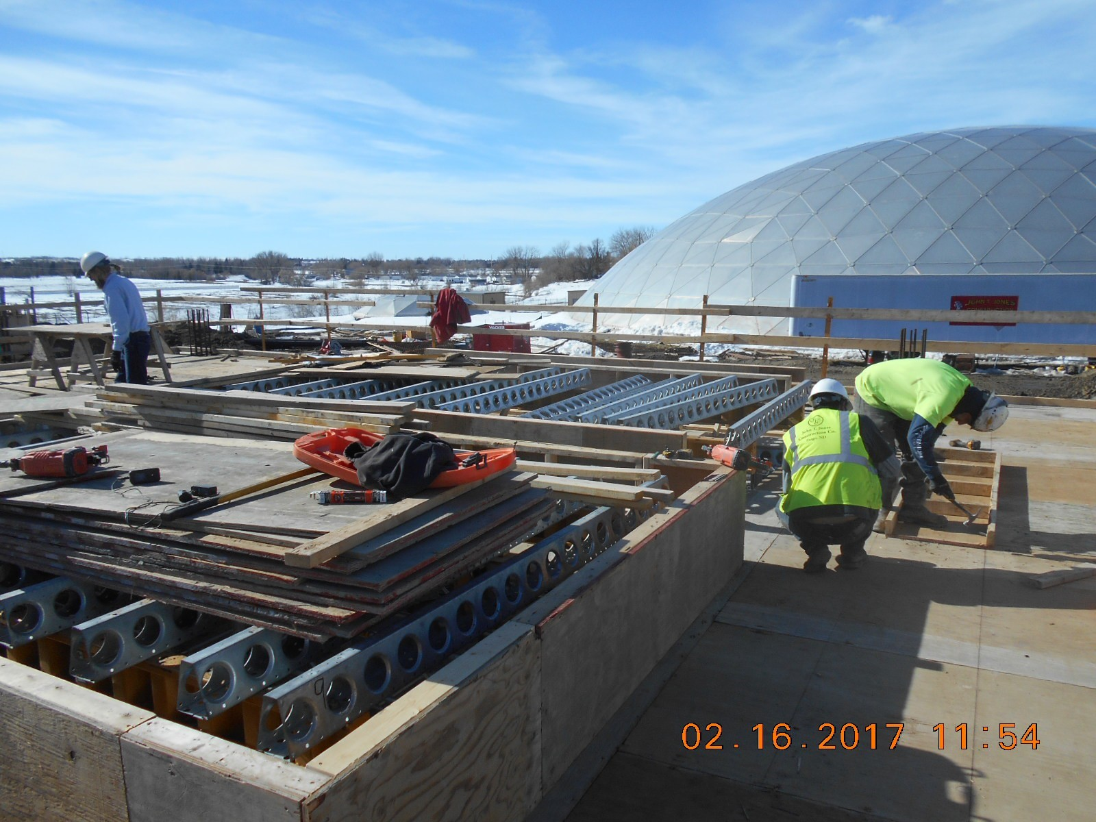 JTJ setting forms for the second floor beams between the Ozone and Wet Well Basins.