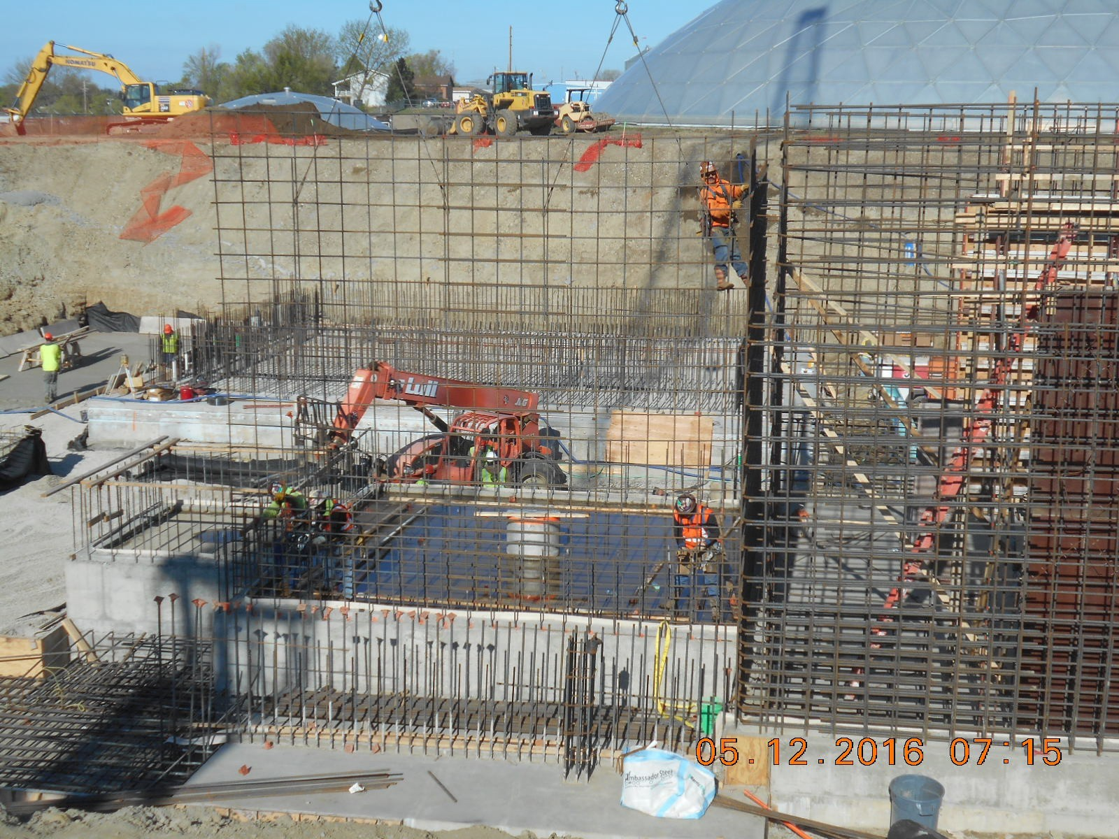 Harris Rebar placing the reinforcing steel for the east wall of the Reactor.