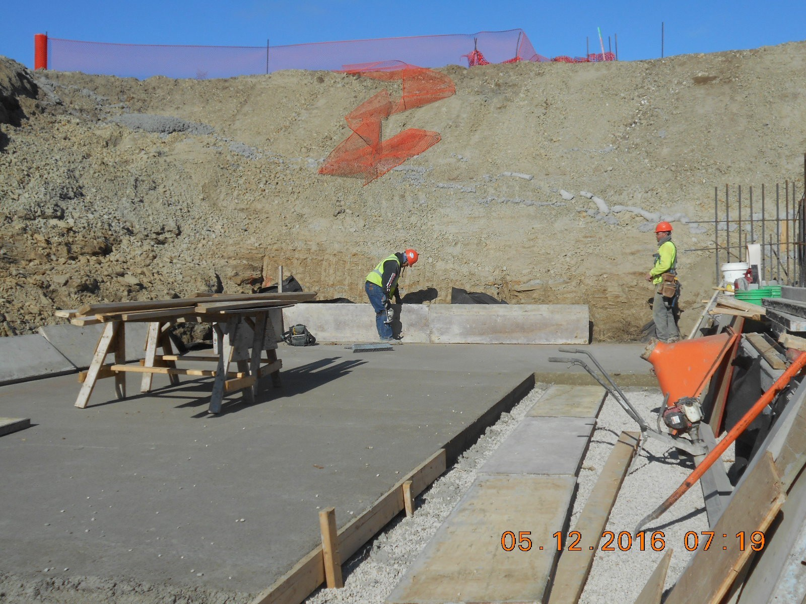 JTJ forming the outside of the basement floor slab at the southwest corner.