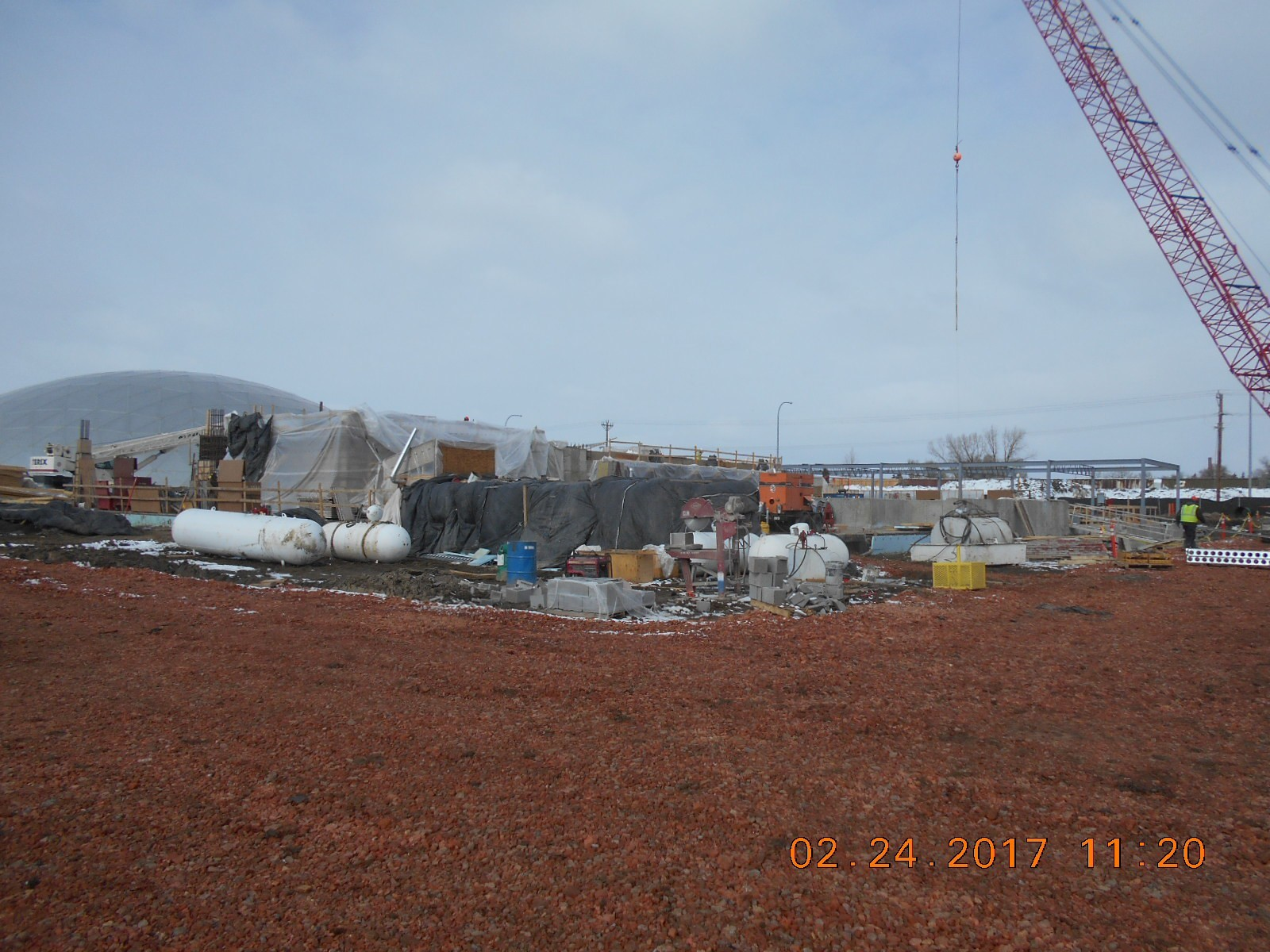 Looking Northwest at the construction site.