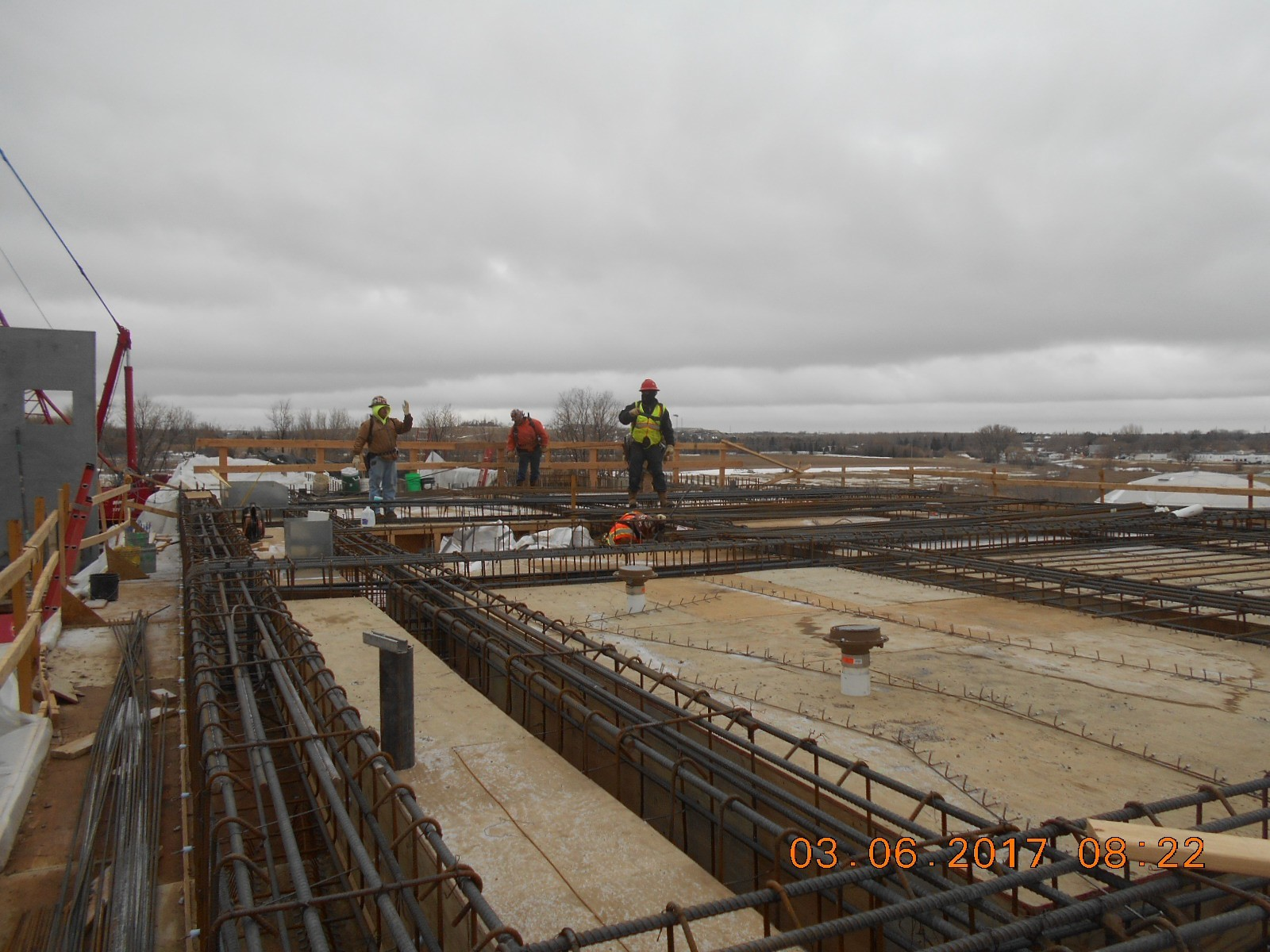 Harris Rebar placing reinforcing steel for the second floor slab between the ozone and wet well basins.