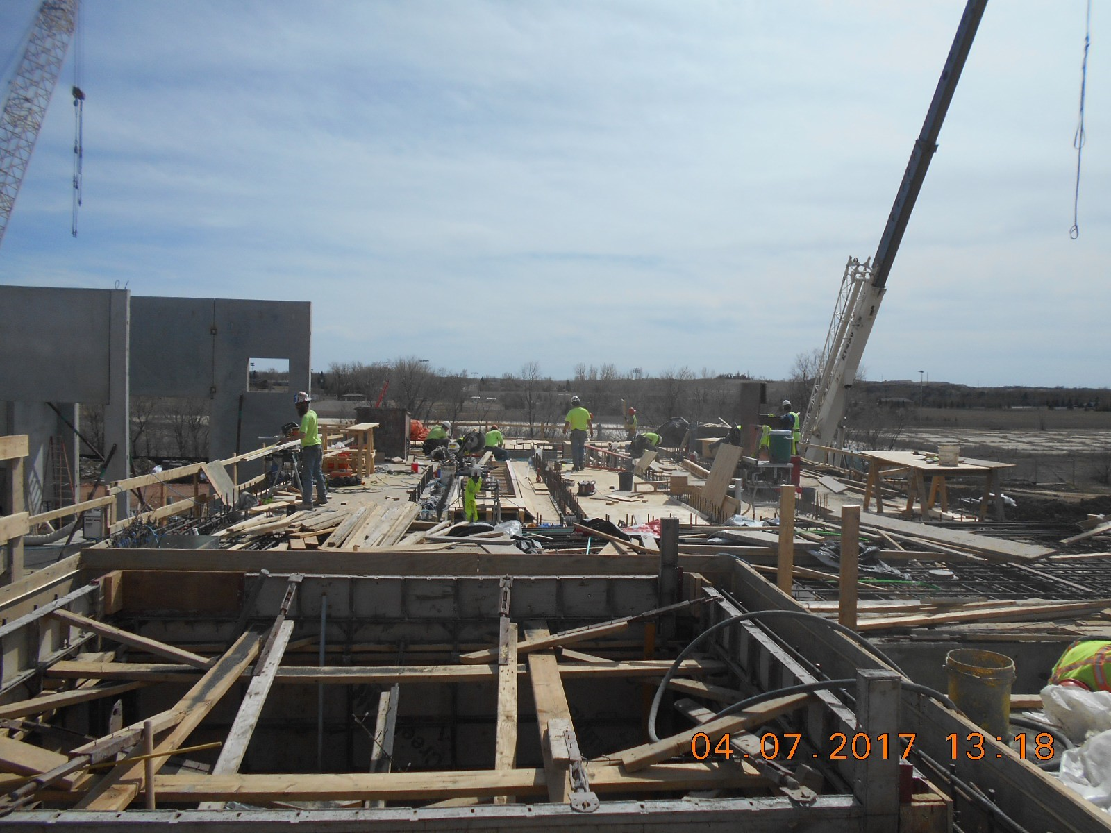 JTJ placing decking for the concrete slab over the ozone basin.