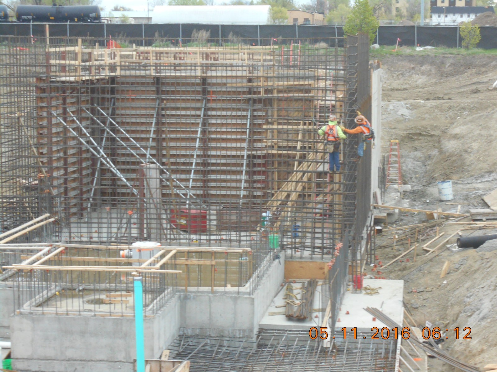 Harris Rebar placing corner reinforcing steel at the southeast corner of the Clarifier.