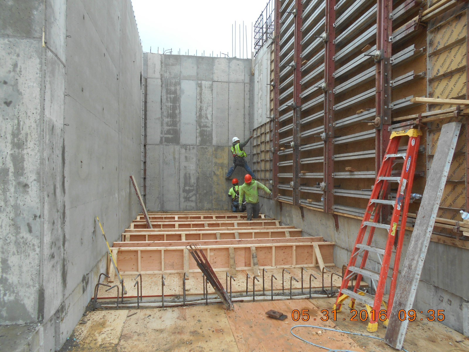 JTJ removing forms from the north wall of the Clarifier.
