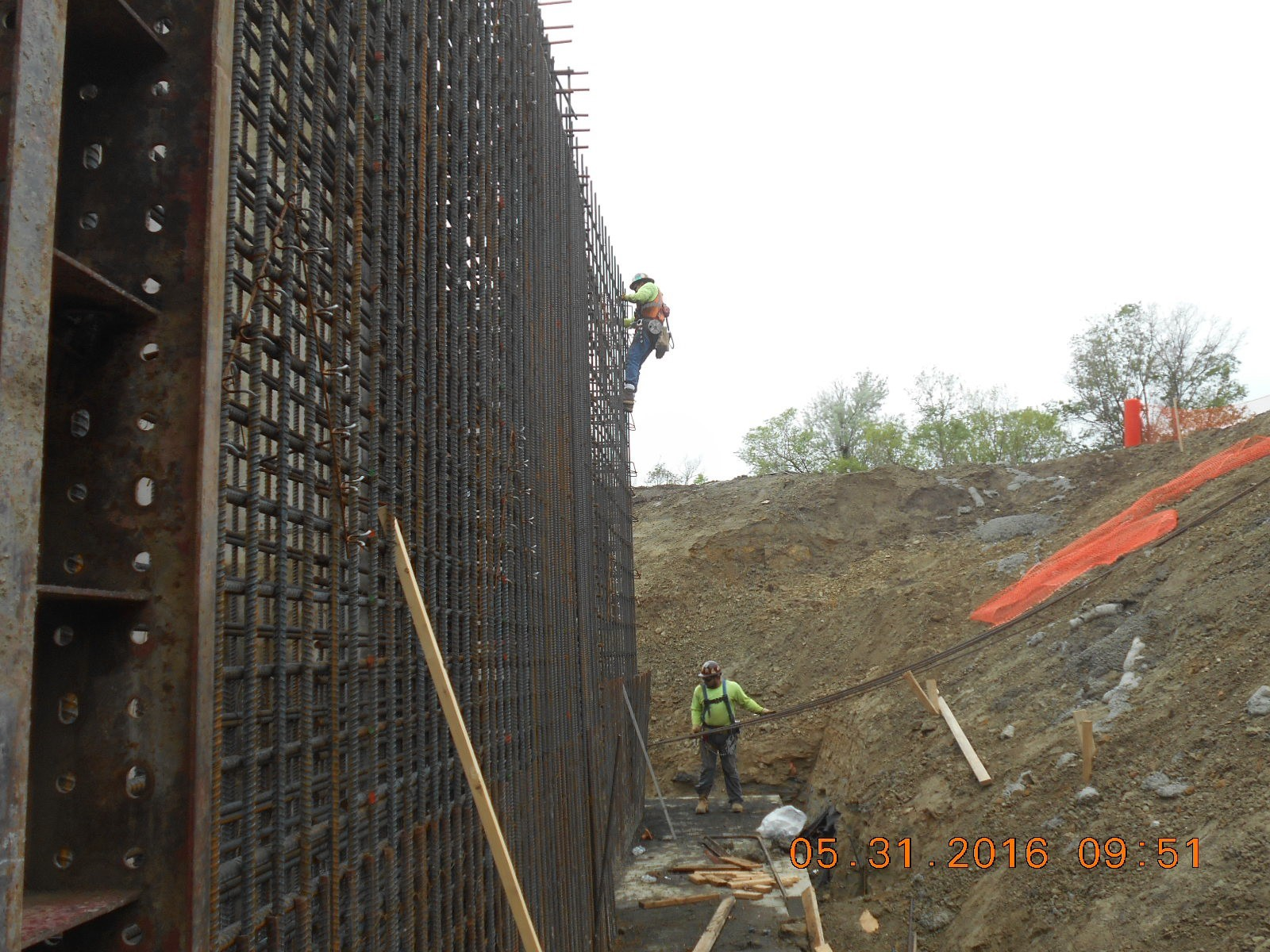 Harris Rebar placing reinforcing steel at the south exterior wall.