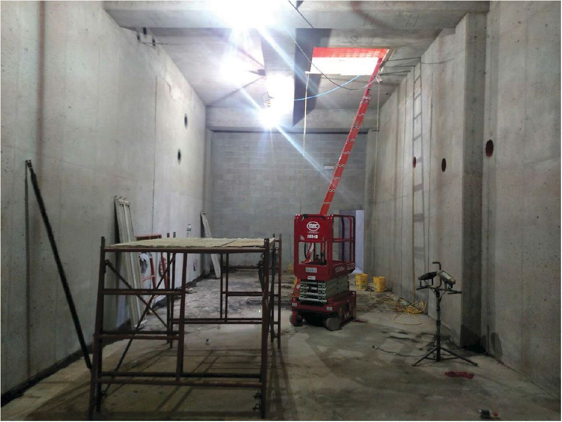 Rice Lake started finishing the walls in the basement pump room.
