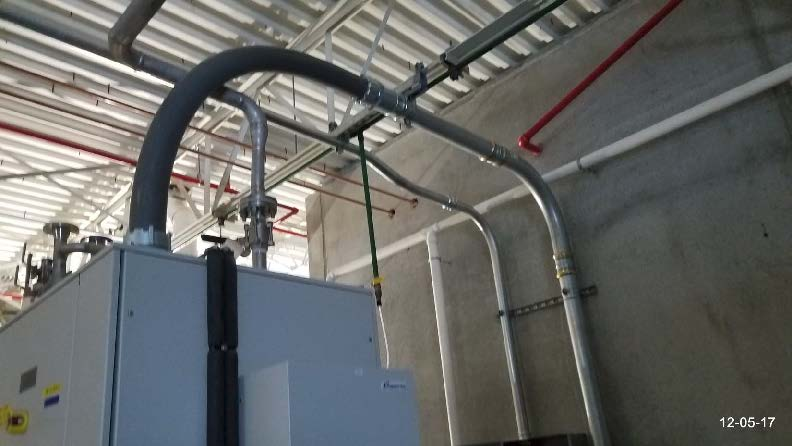 Power supply conduit installation in progress to the Ozone generators.