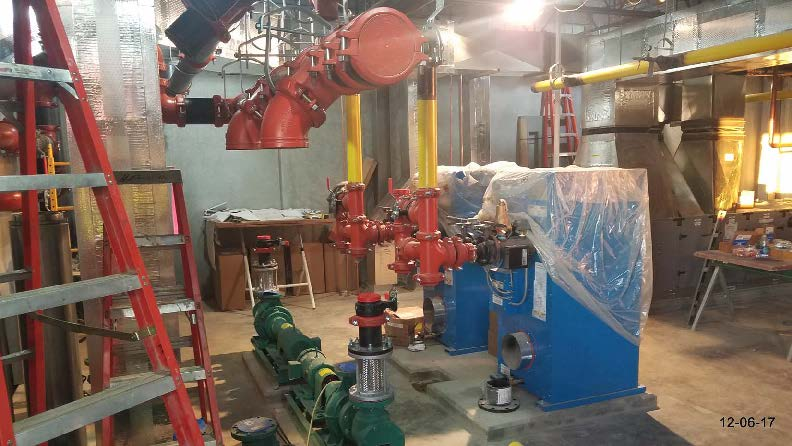Boiler piping in progress in the 2nd floor HVAC room.