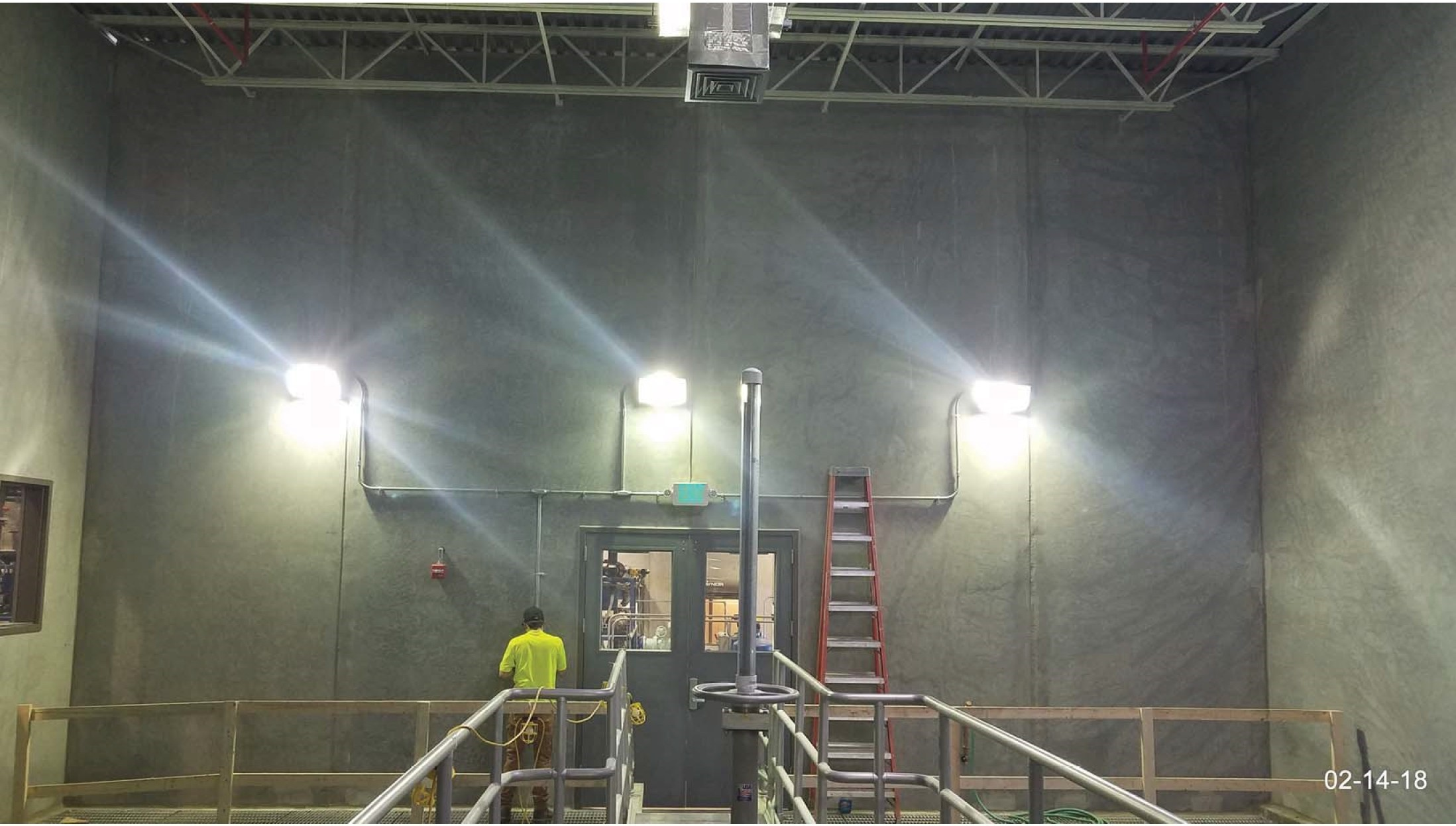 Clarifier room wall luminaries installed.
