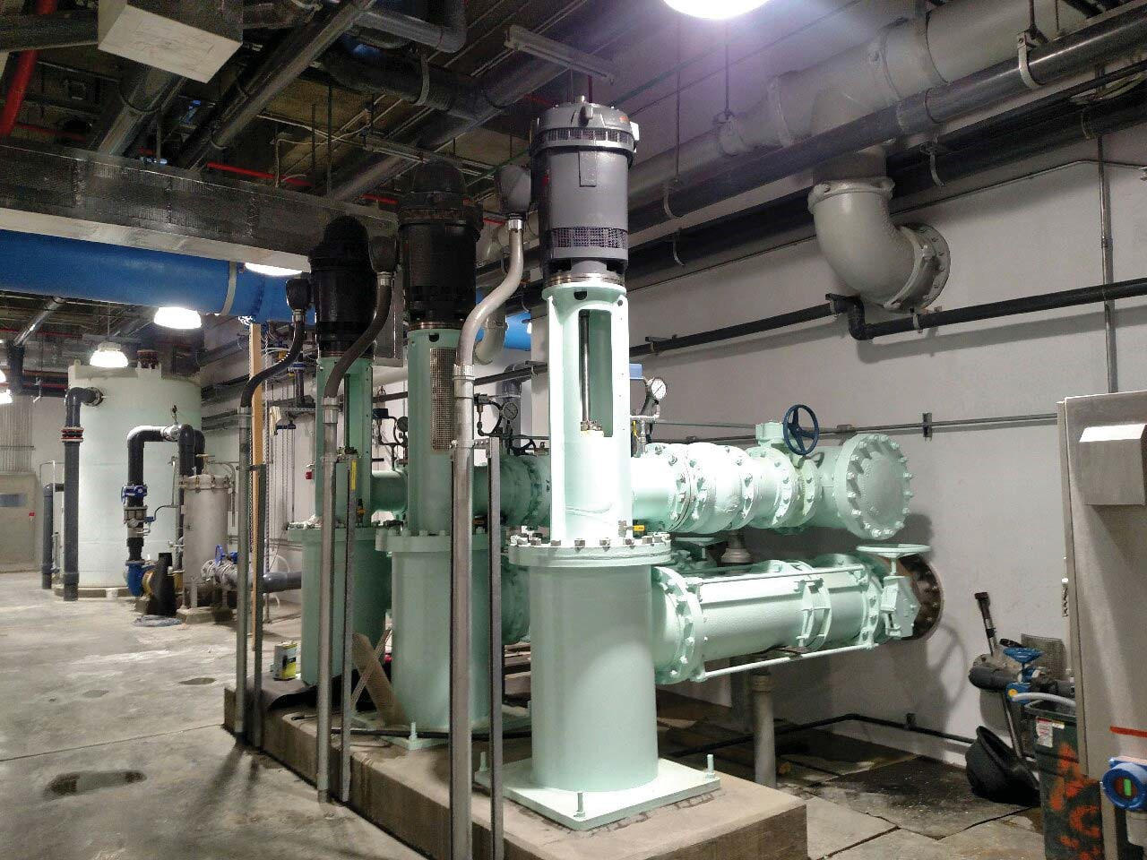 Looking North at the south vertical turbine pump motor reinstalled and the electrical connected.