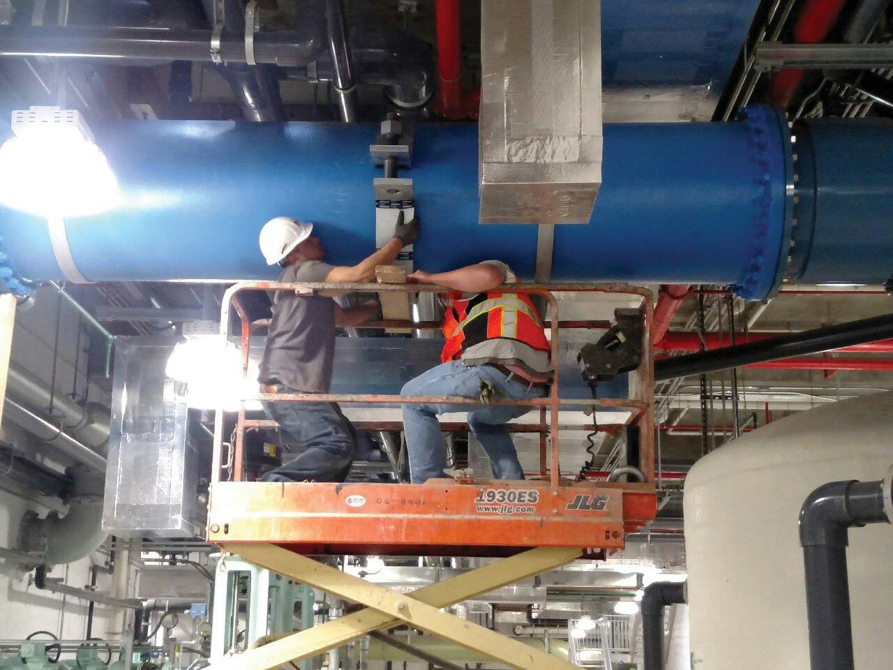 JTJ installing an additional pipe hanger for the 30